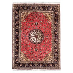Persian Hand Knotted Medallion Floral Red Tabriz Rug 50 Raj