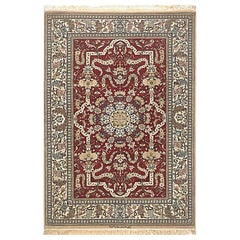 Persian Hand Knotted Medallion Floral Silk Isfahan Rug