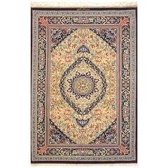 Persian Hand Knotted Medallion Floral Silk Qum Rug