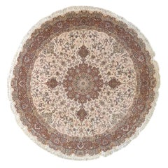 Persian Hand Knotted Medallion Floral Tabriz Cream Round Wool and Silk Rug