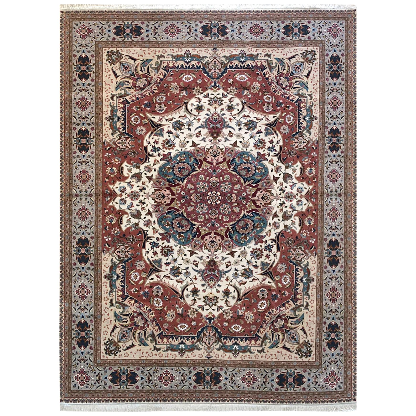 Persian Hand Knotted Medallion Floral Tabriz Rug