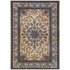 Persian Hand Knotted Medallion Silk Floral Isfahan Rug
