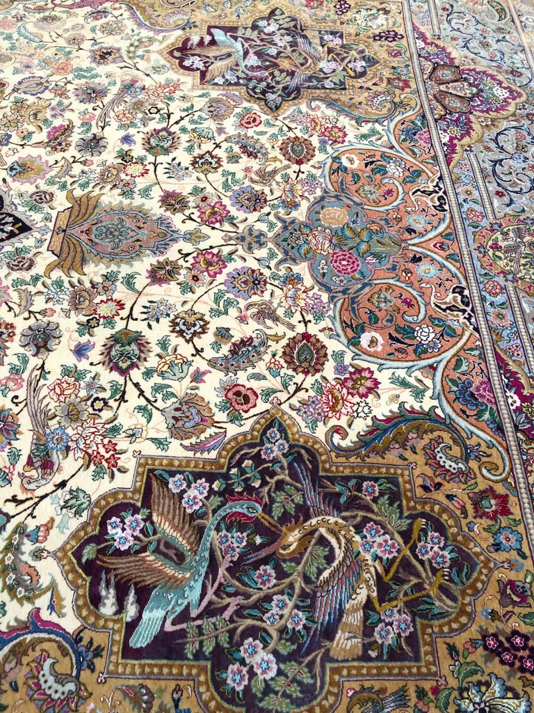 Persian Hand Knotted Oval Medallion Floral Design Silk Tabriz Rug For Sale 14