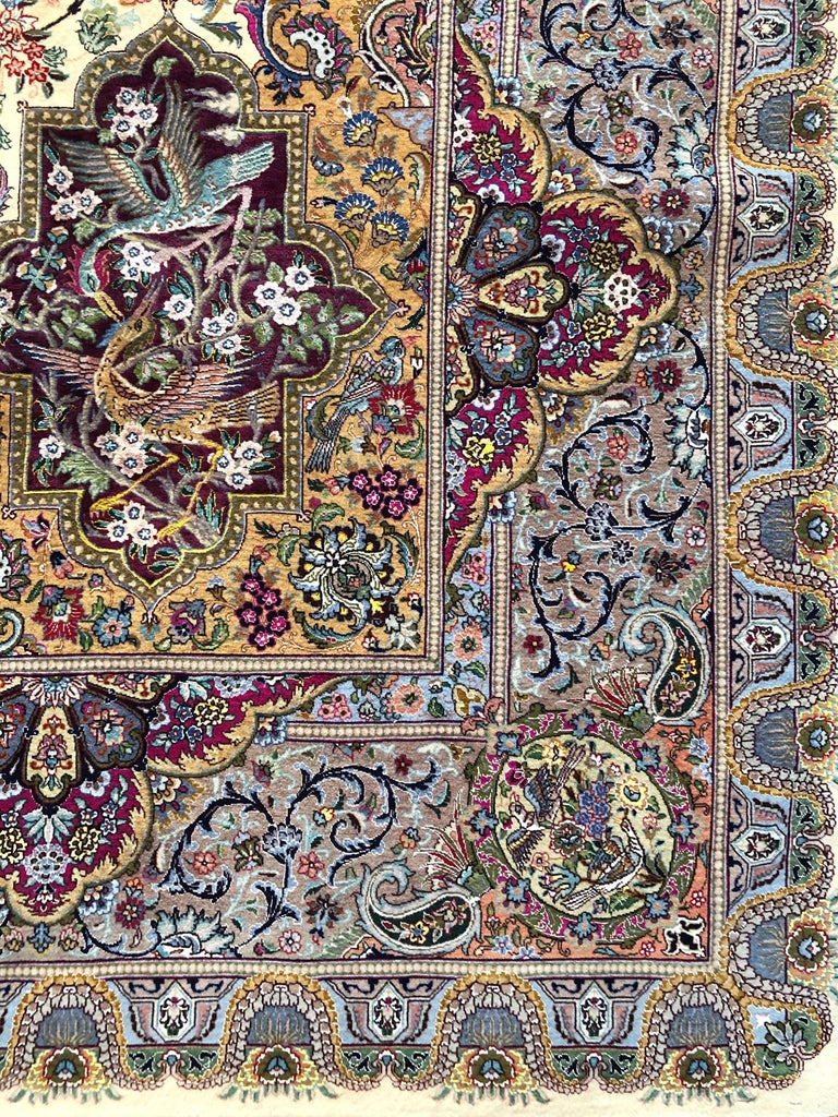 Persian Hand Knotted Oval Medallion Floral Design Silk Tabriz Rug For Sale 1