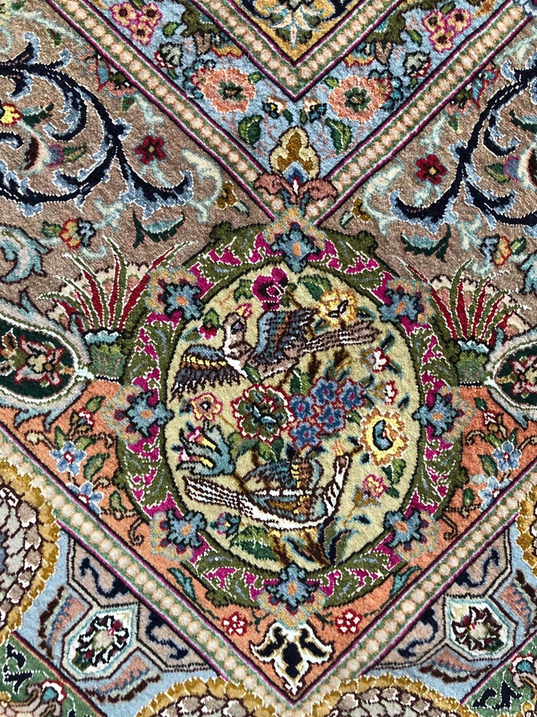 Persian Hand Knotted Oval Medallion Floral Design Silk Tabriz Rug For Sale 2