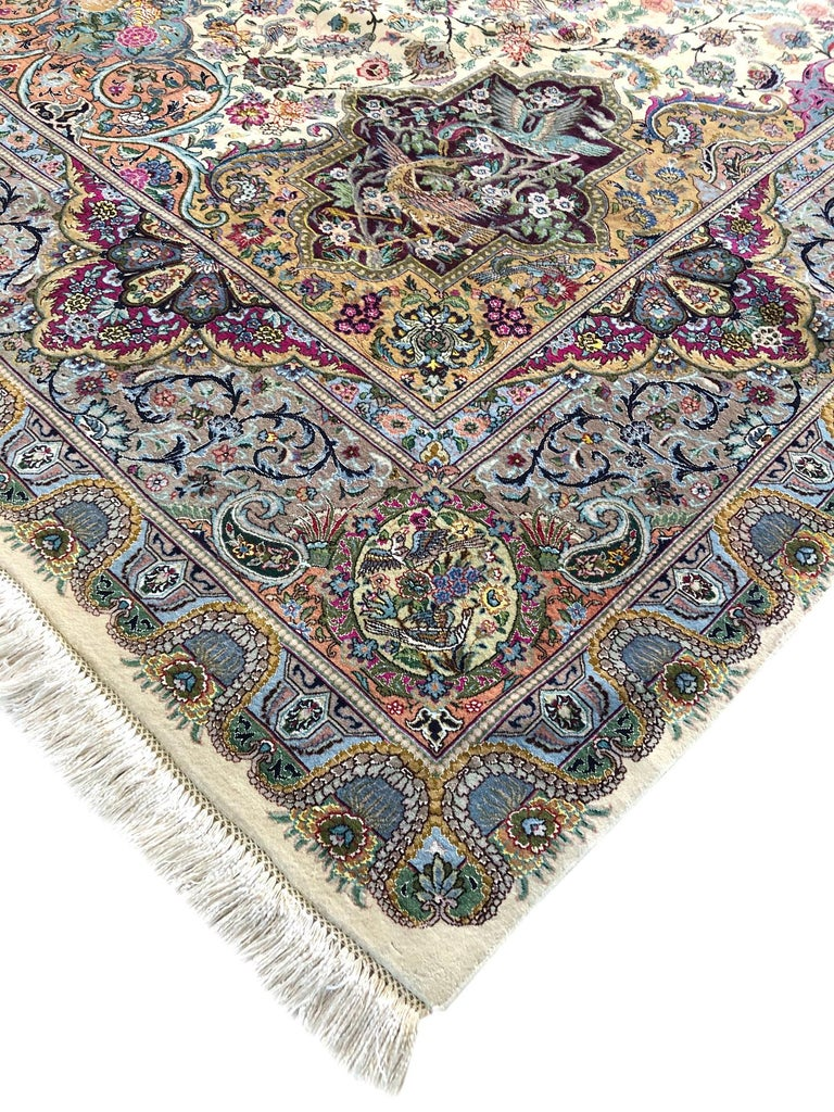 Persian Hand Knotted Oval Medallion Floral Design Silk Tabriz Rug For Sale 3