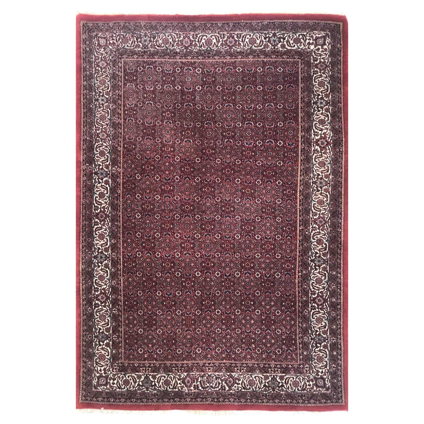 Persian Hand Knotted Red All-Over Floral Herati Design Bijar 'Bidjar' Rug