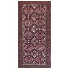 Persian Hand Knotted Red Black All-Over Baluchi Rug, circa 1960