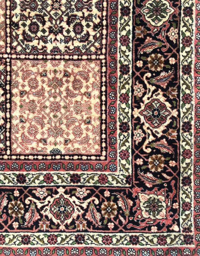Hand-Knotted Persian Hand Knotted Red Cream Panel Design Bijar 'Bidjar' Rug For Sale