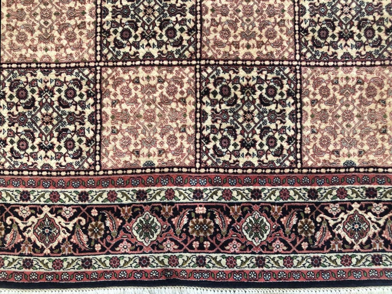 Persian Hand Knotted Red Cream Panel Design Bijar 'Bidjar' Rug In New Condition For Sale In San Diego, CA