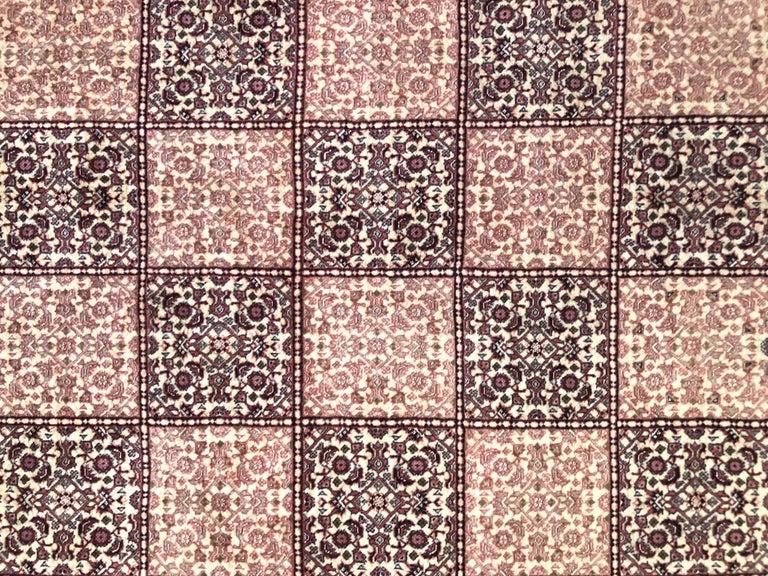 Contemporary Persian Hand Knotted Red Cream Panel Design Bijar 'Bidjar' Rug For Sale