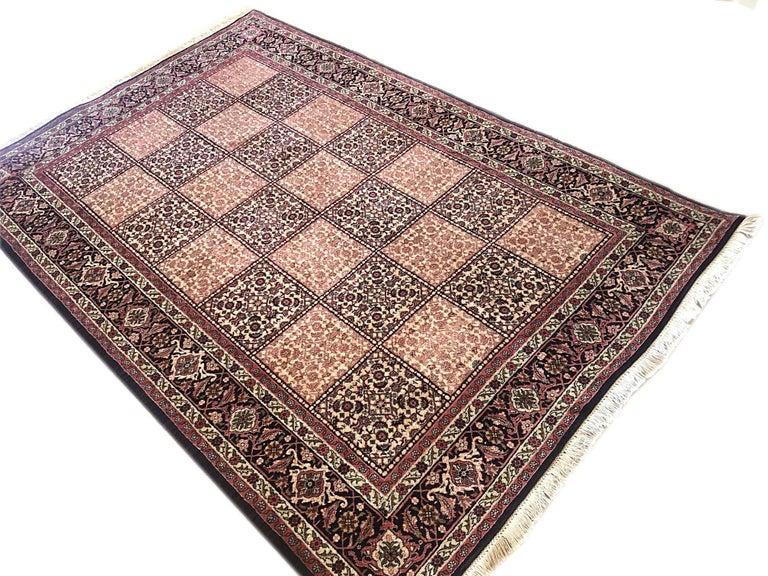 Wool Persian Hand Knotted Red Cream Panel Design Bijar 'Bidjar' Rug For Sale
