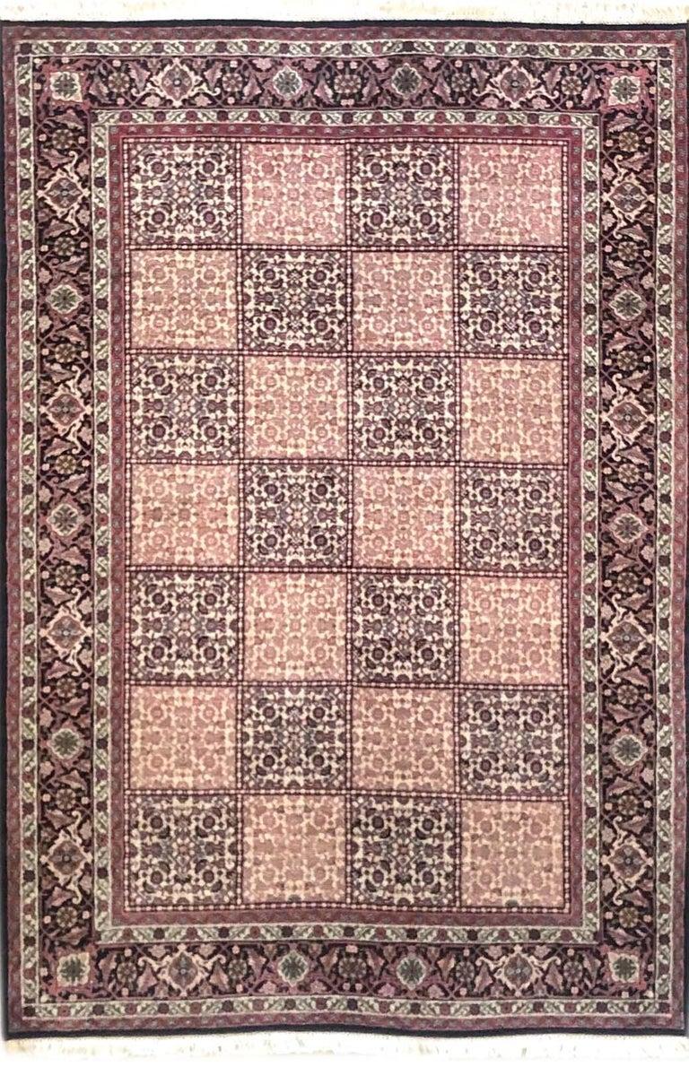 Persian Hand Knotted Red Cream Panel Design Bijar 'Bidjar' Rug For Sale 2