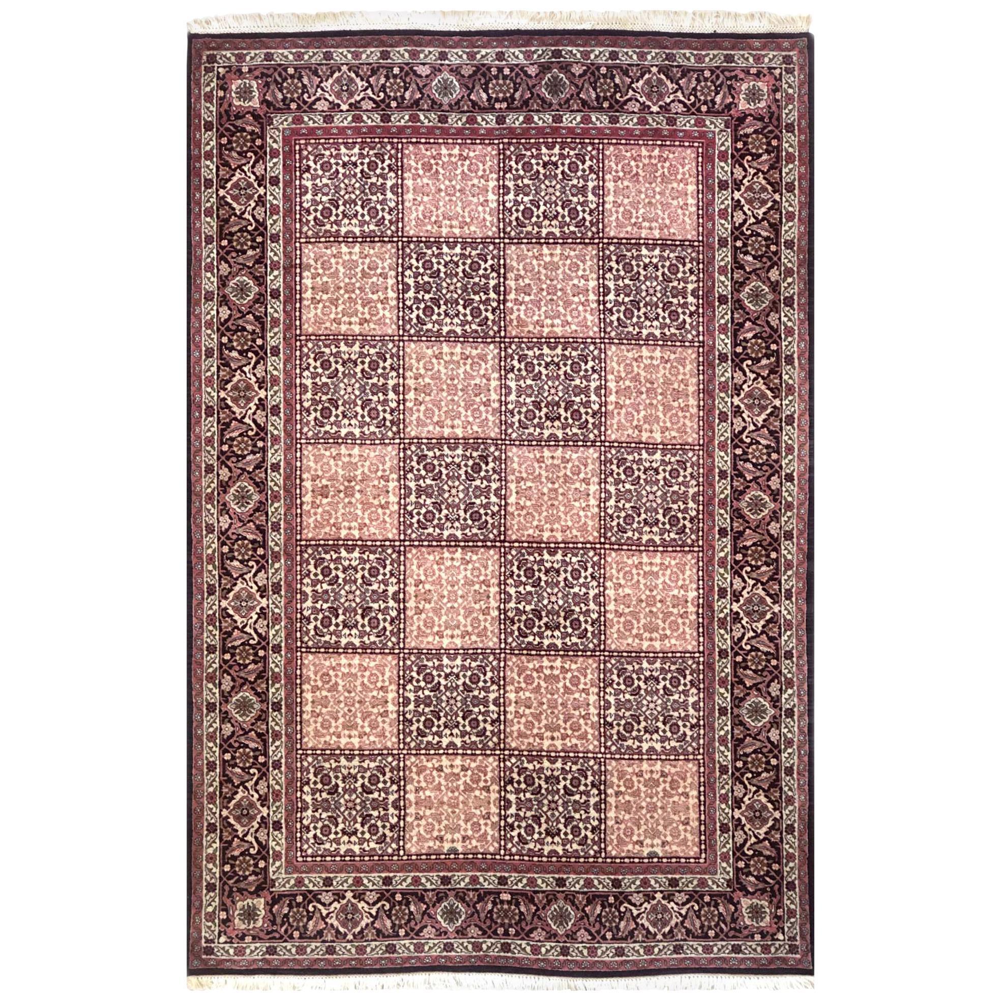 Persian Hand Knotted Red Cream Panel Design Bijar 'Bidjar' Rug