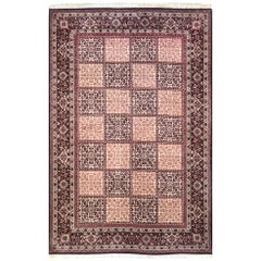 Persian Hand Knotted Red Cream Panel Design Bijar 'Bidjar' Rug