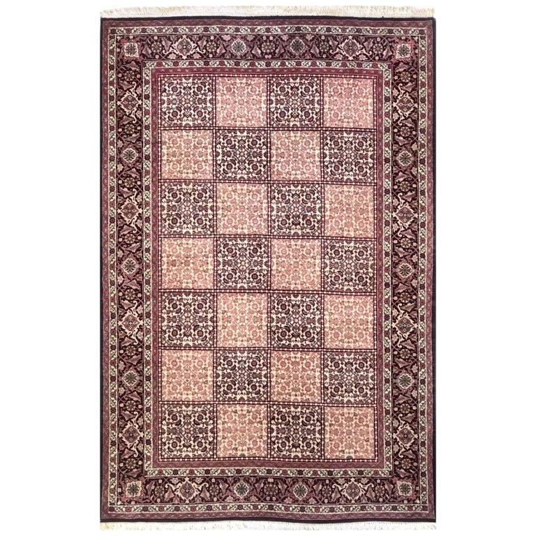 Persian Hand Knotted Red Cream Panel Design Bijar 'Bidjar' Rug For Sale