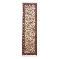 Persian Hand Knotted Semi Floral Red Cream Sarouk Runner Rug