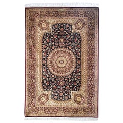 Persian Hand Knotted Silk Medallion Floral Qum Rug