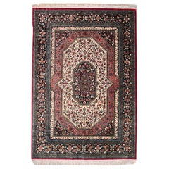 Persian Hand Knotted Silk Medallion Red Qum Rug