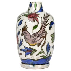 Persian Hand Painted Earthenware Vase with a Hen and Cockerel
