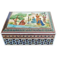 Persian Handpainted Khatam Mosaic Trinket Box