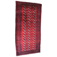 Persian Handwoven Royal Bokhara Geometric Wool Silk Area Rug Runner