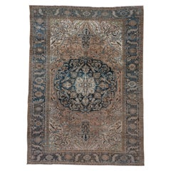 Persian Heriz Carpet, Blue and Dark Green Border, Medallion, Peach Outer Field