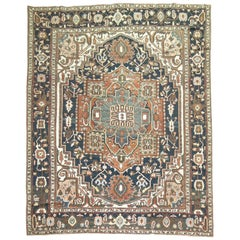 Persian Heriz Charcoal Brown Navy Room Size Early 20th Century Masculine Rug