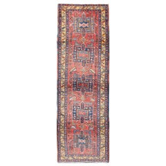 Persian Heriz Semi Antique Runner in Soft Red, Blue and Yellow Colors