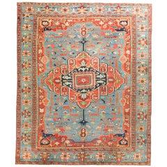 Persian Heriz Serapi Rug Carpet, circa 1890