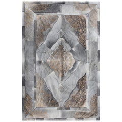 Persian Inspired, Elegant Sueño Cowhide Area Floor Rug Small