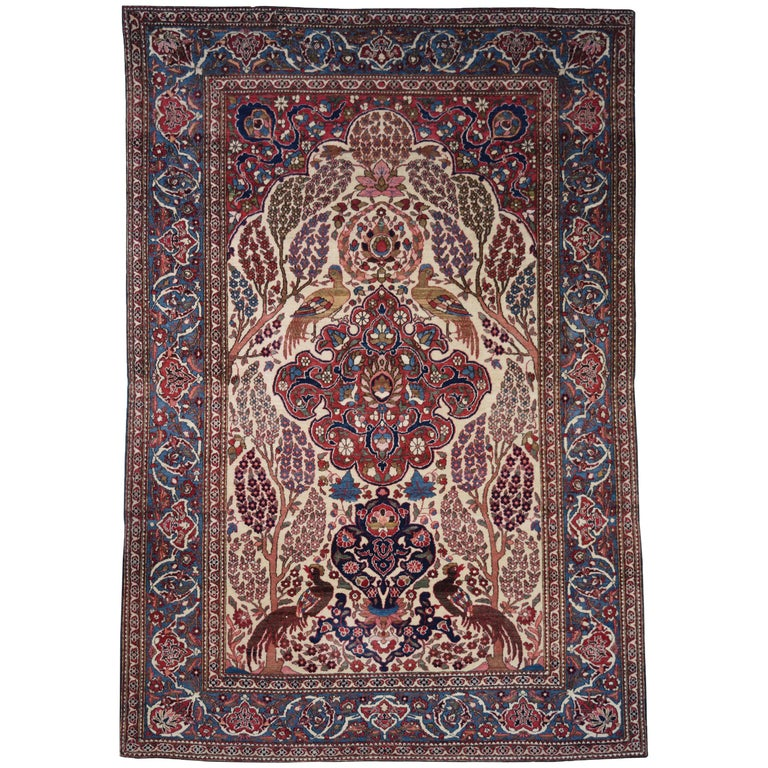 Persian Isfahan Tree of Life Carpet, circa 1890-1900 For Sale