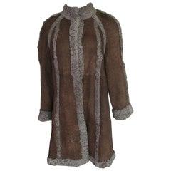 Persian Karakul Lamb Fur Reversible coat with Brown Suede