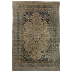 Persian Kirman Beige, Brown and Black Handwoven Wool Rug