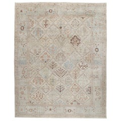Persian Kurdish Decorative Hand Knotted Rug in Ivory and Beige Color