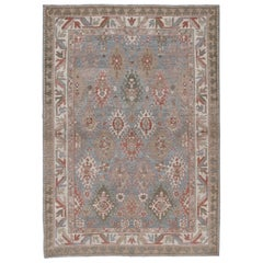Persian Kurdish Hand Knotted Rug in Pale Blue, Camel and Ivory Colors