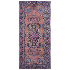 Persian Lilihan Vintage Distressed Handmade Wool Gallery Size Runner Rug