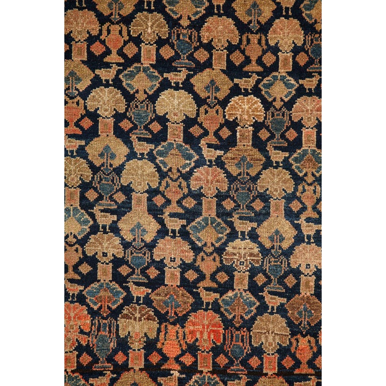 Vegetable Dyed Persian Malayer Carpet circa 1900 in Pure Handspun Wool and Vegetable Dyes For Sale