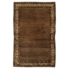Persian Malayer Chocolate Brown and Sandy Beige Handmade Wool Rug