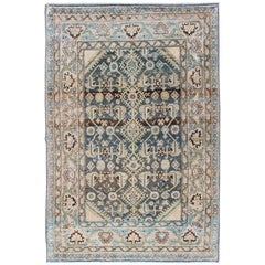 Persian Malayer Rug with All-Over Design in Gray, Blue, Cream, Pink Tones