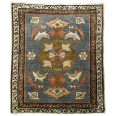 Persian Malayer Square Green Brown Orange Mat