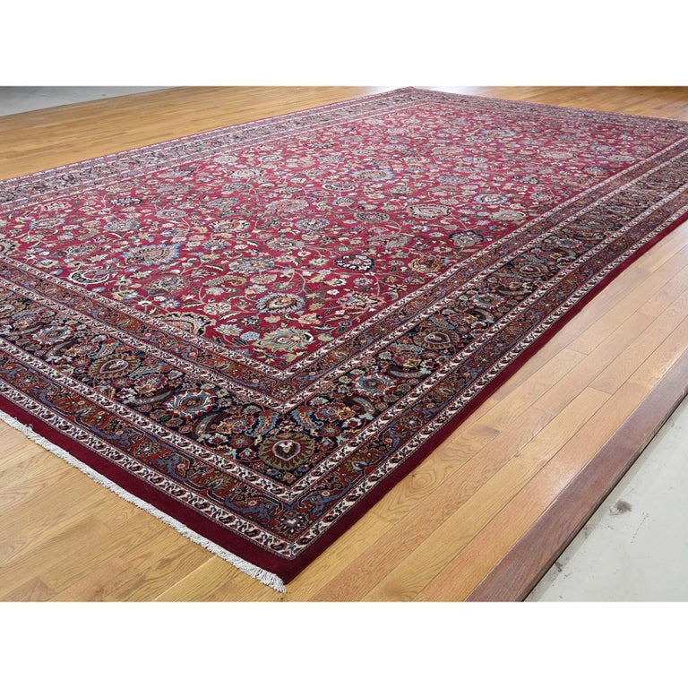 Afghan Persian Mashad 300 Kpsi High Quality Oversize Hand Knotted Rug For Sale