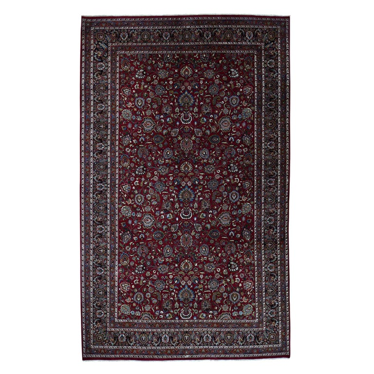 Persian Mashad 300 Kpsi High Quality Oversize Hand Knotted Rug For Sale