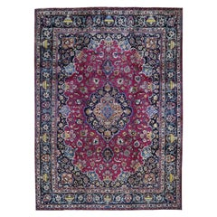 Persian Mashad Architectural Grails Full Pile Hand Knotted Oriental Rug