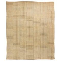Persian Mazandaran Hand Knotted Wool Kilim Rug in Sandy Beige Shade
