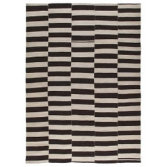 Persian Mazandaran Handwoven Flatweave Black and White Rug