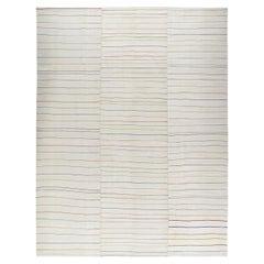 Persian Mazandaran Handwoven Flat Weave Multicolored Earth-Tone Rug