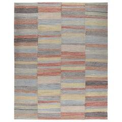 Persian Mazandaran Handwoven Flat Weave Multicolored Rug