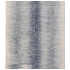 Mazandaran Handwoven Flat-Weave Rug in Blue Grey