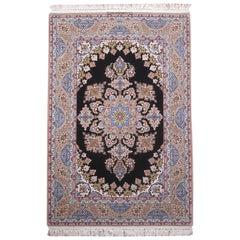Persian Medallion Floral Silk Isfahan Rug